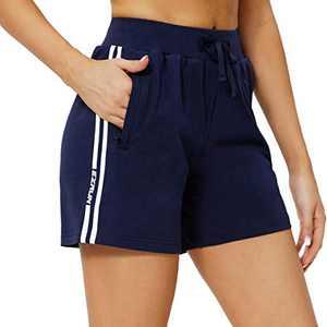 EZRUN Women's Workout Sweat Shorts Cotton Bermuda Shorts Lounge Gym Yoga Athletic Shorts with Zipper Pockets(Blue,S)