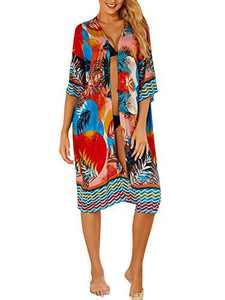 Alsol Lamesa Womens Beach Cover Up Long Kimono Cardigans Open Front Print Patterned Swimsuit Cover Ups for Swimwear Bikini