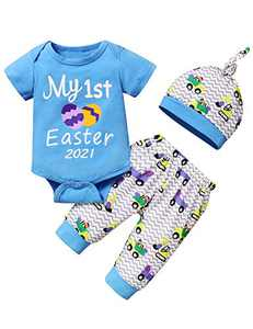 Shalofer Baby Boys My First Easter Day 2021 Outfit Newborn Easter Egg Bodysuit (Blue,0-3 Months)