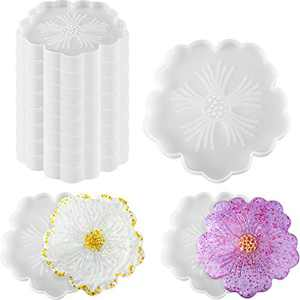 10 Pieces Flower Coaster Mold Silicone Agate Coaster Mold Epoxy Resin Casting Molds DIY Tray Resin Mold for Cup Mats Faux Agate Slices Home Table Decorations