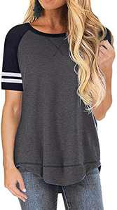 ALLTB Womens Summer Top Blouses Color Block T-Shirts Casual Side Split Short Sleeve Tunic Tops Deep Grey Medium