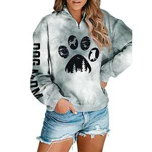 Women Dog Paw Tie Dye Sweatshirt Dog Mom Print Pullover Long Sleeve 1/4 Zipper Tunic Tops