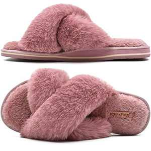 Womens Fluffy Cross Band Slippers, Ladies Arch Support Fuzzy Plush Slides Slippers, Furry Faux Fur Cozy House Slipper, Open Toe Memory Foam Slide Sandals Pink 11