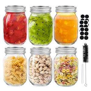 Glass Octopus Mason Jars 16 oz[6 Pack], Glass Jars with Lids, Regular Mouth Canning Jars with Silver Metal Airtight Lids for Jam, Honey, Wedding Favors, Canning, Jelly, Herbs