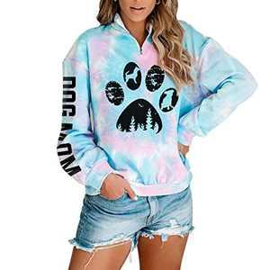 Women Dog Paw Tie Dye Sweatshirt Dog Mom Print Pullover Long Sleeve 1/4 Zipper Tunic Tops