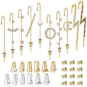 22 Pieces Ear Cuff Wrap Crawler Hook Earrings Zircon Earrings Cartilage Clip On Earrings Set with 20 Pieces Earring Backings Earring Backs for Women Girls