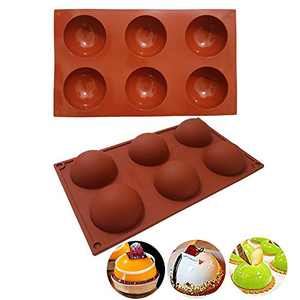 2 Pcs 6 Holes Silicone Molds , Large Circle Semi Sphere Silicone Mold for Chocolate, Jelly, Pudding, DIY Handmade Soap,BPA Free 2.75 Inch Diameter