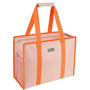 BALEINE Utility Tote Bag with Zip Top, Slip & Interior Zipper Pocket, Orange