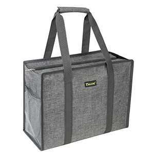 BALEINE Utility Tote Bag with Zip Top, Slip & Interior Zipper Pocket, Winter Gray