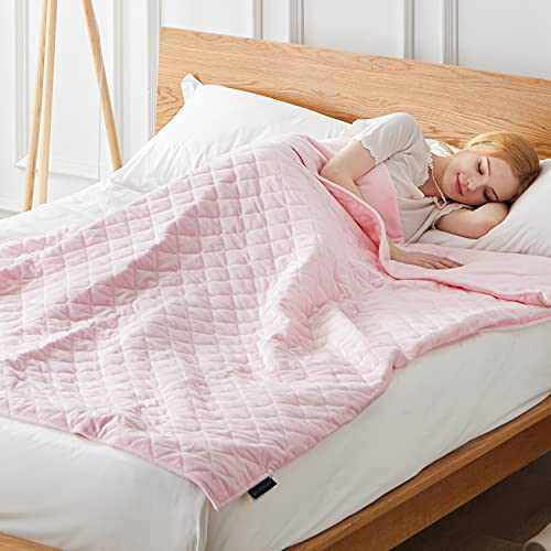 """ACOMOPACK Weighted Blanket for Adult Queen 20lbs with Breathable Warm Minky Duvet Covers 2 Pieces Set for All Season(60""""×80"""",Pink Heavy Blanket with Premium Glass Beads"""