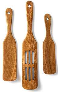 Spurtle Wooden Kitchen Utensil Set, Acacia Spurtle Kitchen Sets Non-Stick Wooden Cooking Utensils Wooden Spatula Slotted Spurtle Spatula Sets For Stirring, Mixing, Serving(3)