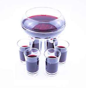 sunning 6 Shot Glass Dispenser and Holder,Shot Glass Dispenser for Filling Liquids, Drinking Games Shot Glasses Dispens Carrier, Cocktail Party, Beer and Wine Separator(clear-with 6 Glasses)