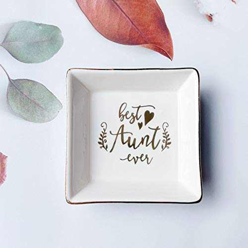 Gifts for Women, Ceramic Ring Dish Decorative Trinket Plate Initial Jewelry Tray Dish, Mothers Day Valentines Gifts for Her(Best Aunt Love)