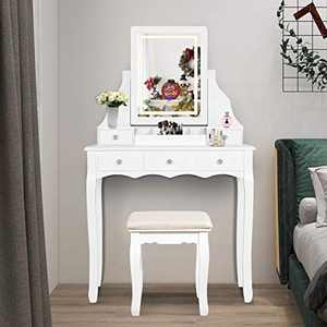 FUNKOCO Vanity Table Set with Illuminated LED Mirror,Dimmer LED Light,Touch Screen Switch and Cushioned Stool,White