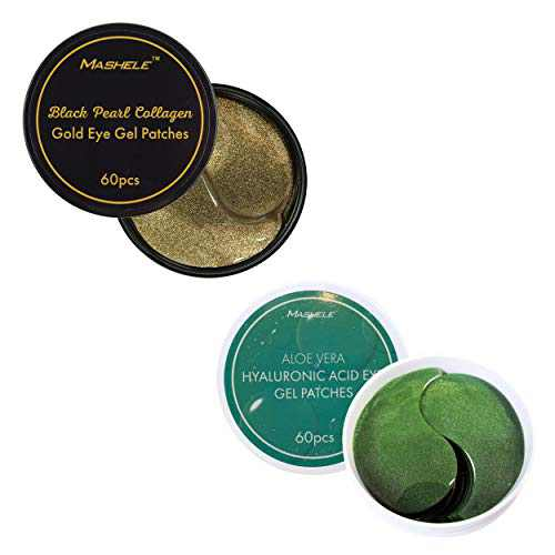 MASHELE Korean Under Eye Patches 24K Gold Black Pearl and Aloe Mask Anti-Aging Hyaluronic Acid Collagen Neck Forehead Laugh Line Pad Reducing Dark Circles Treatment (120pcs, gold and aloe eye patches)