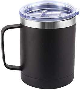 Coffee Cup - Travel Coffee Mugs - Coffee Mug Stainless Steel - Coffee Mug - Healthy & BPA Free - Camping Mug (black-400ml)