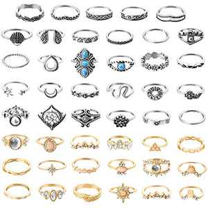 PANTIDE 48Pcs Vintage Boho Knuckle Rings Set Stackable Finger Rings Midi Rings for Women Girls Trendy Bohemian Hollow Carved Flowers Gold&Silver Rings Crystal Joint Rings Jewelry with Storage Bag