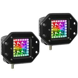 Nicoko Flushmount 18w 3inch Work Light Spotlight Fog Lights with Chasing RGB Halo Ring for 10 Solid Colors Changing Over 72 Flashing Modes Flasing Strobe Lights IP 68 Waterproof 1 Year Warranty