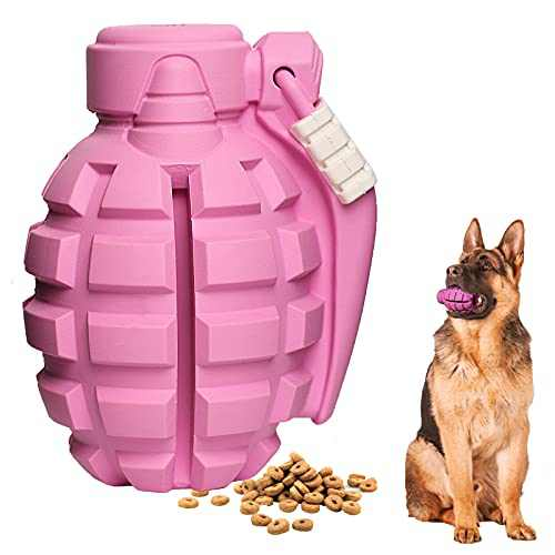 Tough Dog Toys for Aggressive Chewers Large Breed, Lifetime Replacement, 100% Natural Rubber, Fun to Chew, Chase and Fetch, Indestructible Dog Treat Toys for Large Medium Small Dogs (Pink)