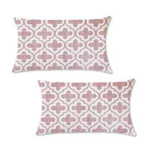 Natural Union Pink Embroidered Pillows Cover 12x20 Cushion Covers Pillowcases with Hidden Zipper for Sofa Bedroom Lumbar Pillow Decorative 100% Cotton
