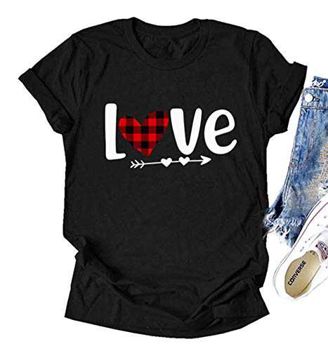 Fancyqube Womens Valentine's Day Shirt Buffalo Plaid Heart Printed Short Sleeve Love Graphic Tees Tops(s Black Design One)