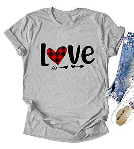 Fancyqube Womens Valentine's Day Shirt Buffalo Plaid Heart Printed Short Sleeve Love Graphic Tees Tops(m Grey Design One)