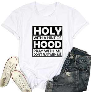 Womens Letter Printhed Shirts Holy with A Hint of Hood Pray with Me Summen Short Sleeve Tee Tops White