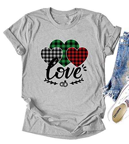 Fancyqube Womens Valentine's Day Shirt Buffalo Plaid Heart Printed Short Sleeve Love Graphic Tees Tops(m Grey Design Two)