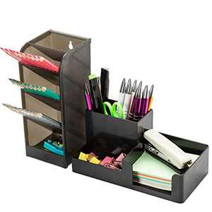 Ctcwsh Desk Organizer Set with Pen Holder Pencil Cup ,Sticky Note Tray,Paperclip Storage and Office Accessories Caddy,Desktop Organization Office Classroom Home Supply for Kids Students (black)