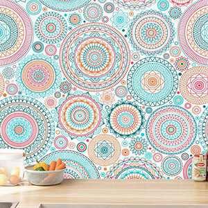 17.7''x78.7'' Fun Peel and Stick Wallpaper Cute Contact Paper Colorful Wallpaper Kitchen Contact Paper Decorative Self-Adhesive Wallpaper Removable Waterproof Easy to Clean Wall Covering Vinyl Rolls