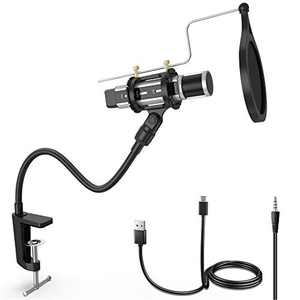 ZealSound Microphone Bundle, Condenser USB Microphone Kit for Phone PC Mac Laptop w/Gooseneck Arm Stand, Shock Mount, Pop Filter for Recording, Podcasts, Streaming, YouTube ASMR Silver