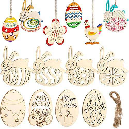 Easter Wooden Ornaments Unfinished Wood Decorations Easter Bunny Chick Egg Flower Wooden Crafts Ornaments Hanging Pieces for DIY Embellishments Party Adornments, with Hanging Ropes, 54 Pieces