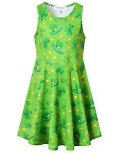 Perfashion St. Patrick's Day Dress Girls Cotton Summer Party Dress Little Girls Birthday Green Sundress 8 9