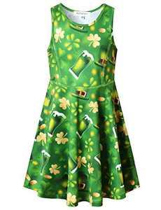 Perfashion St. Patrick's Day Outfits for Girls Green Dress 7-8 Summer Sleeveless Sundress Skater Dress 4t 5t