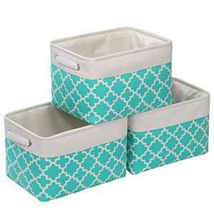 "Kntiwiwo Fabric Storage Bins for Shelf Storage Baskets for Closet Decorative Storage Box with Handles for Home Closet Bedroom Nursery Organizer, Set of 3 (15"" x 10"" x 9.5"")"