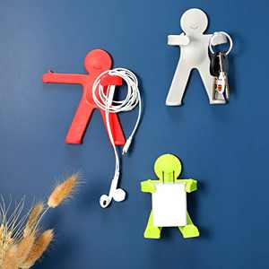 Jetec 3 Pieces Adhesive Wall Hooks Cute Decorative Kids Hook for Bathroom Kitchen Refrigerator Bedroom Hanging Towel Keys Bath Balls Human Shape Figure Hanger