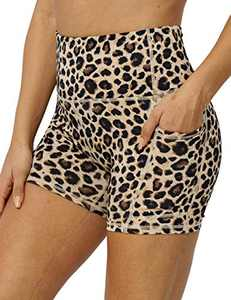 "5"" High Waist Workout Biker Yoga Shorts Athletic Running Tummy Control Short Pants with No Side Pockets for Women Yellow Leopard-S"