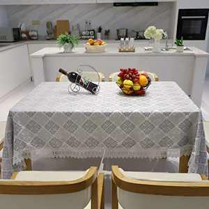 Tablecloths for Rectangle Tables 60 x 84,Gray 3D Embroidery Tablecloth,Exquisite Luxury Style Water-Resistant&Dust-Proof Heavy Weight Table Cover Suitable for Party Kitchen Dining