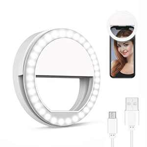 Selfie Light Ring Led Circle Clip-on Selfie Fill Light with 36 Led Bubbles USB Rechargeable Portable for iPhone Smart Phones,Laptop,iPad Photography, Camera Video,Girl Makes up(White)