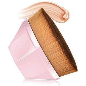 Foundation Makeup Brush Flat Top Kabuki Hexagon Face Blush Liquid Powder Foundation Brush for ALL LADY Blending Liquid, Cream or Flawless Powder Cosmetics with Bonus Protective Case(Pink)
