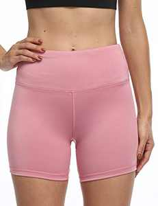 """5"""" High Waist Workout Biker Yoga Shorts Athletic Running Tummy Control Short Pants with No Side Pockets for Women Pink-XL"""