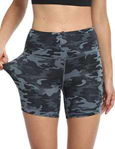 "5"" High Waist Workout Biker Yoga Shorts Athletic Running Tummy Control Short Pants with No Side Pockets for Women Deep Gray Camo-L"