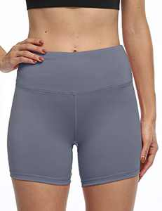 "5"" High Waist Workout Biker Yoga Shorts Athletic Running Tummy Control Short Pants with No Side Pockets for Women LightBlue-L"