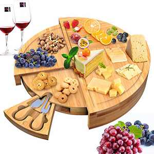 """Bamboo Cheese Board,Charcuterie Platter & Serving Traywith Knives Set - Stores as a Compact Wedge - Opens to 14"""" Diameter Round Tray for Entertaining and Serving"""