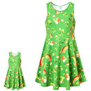 St. Patrick's Day Dress for Girls American Doll Outfits 18 inch Sleeveless Green Clover Dress 10 11