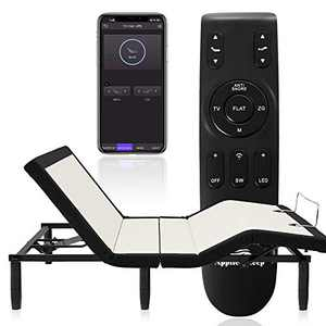 Full Adjustable Bed Frame,Applied Sleep Wireless Remote Adjustable Base with Bluetooth APP Syncing/Back&Leg Massage/Under Lighting/ Charging Ports/Head&Foot Incline/Anti Snore/ Easy Assembly