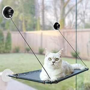 Aumuca Cat Window Perch, Cat Window Hammock Cats Kitty Safety Bed with 2021 Latest Heavy Duty Suction Cups Space Saving Window Mounted Cat Bed Cat Window Seat Holds for Large Cats Holds Up to 50 Lbs