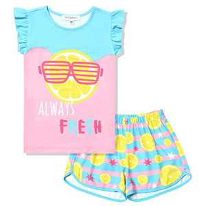 Lemon Night Shorts Set for Girls 2 Pcs Summer Pjs Kids Pajama Set Summer Sleep Shirts