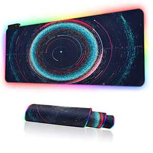 RGB Gaming Mouse Pad, Large Extended Soft Led Mouse Mat with 14 Lighting Modes 2 Brightness Levels, Non-Slip Rubber Base, Waterproof Surface, Keyboard Mousepad (31.5 x 11.8 x 0.2 Inch) (Solar System)