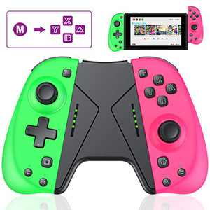 JACKiSS PRO Programmable Controller for Switch Joypad, Enhanced Replacement for Switch Joypad with Macro Buttons, Turbo Function Alternative Joypad for Switch Pro Controller-Pink/Green